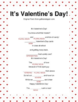 It's Valentine's Day Mad Lib  **easy to use **
