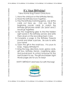 It's Your Birthday! Take Home Bag