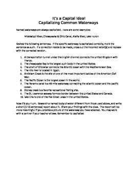 It's a Capital Idea!:  Capitalizating Common Waterways