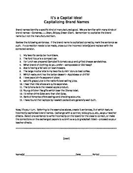 It's a Capital Idea!:  Capitalizing Brand Names