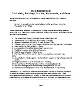 It's a Capital Idea!: Capitalizing Buildings, Statues, Monuments, and More