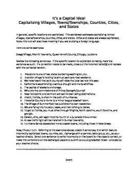 It's a Capital Idea!:  Capitalizing Villages, Townships, Cities, and More