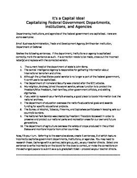 It's a Capital Idea!:  Capitalizing Federal Government Units