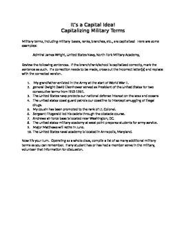 It's a Capital Idea!: Capitalizing Military Terms