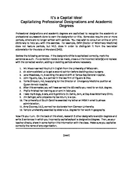 It's a Capital Idea!:  Capitalizing Professions and Academ