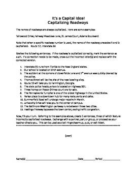 It's a Capital Idea!:  Capitalizing Roadways