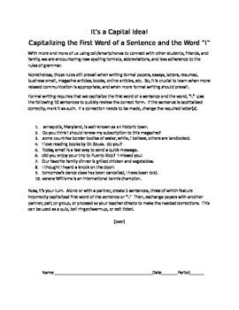 It's a Capital Idea!: Capitalizing the First Word of a Sentence and I
