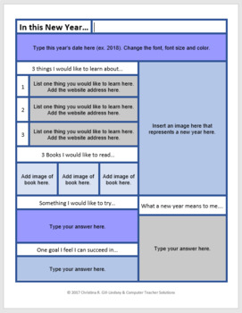IT'S A NEW YEAR!   Poster Activity for use with GOOGLE Docs or MS Word