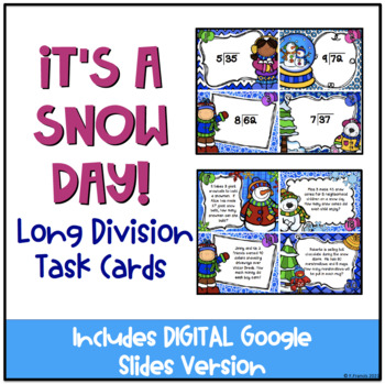 It's a Snow Day! Winter Themed Long Division Task Cards