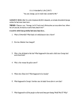 It's a Wonderful Life (Movie)  Comprehension Questions