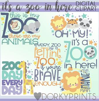 It's a Zoo in Here Word Art Clip Art