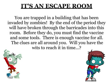 It's an escape room challenge with equations, percents, fractions, and more!