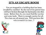 It's an escape room challenge with equations, percents, fr