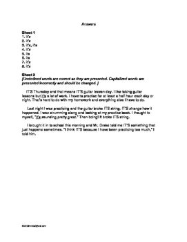 ELA MORNING WORK Gr 3, 4: Its and It's