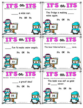 It's or Its Task Cards {Homophones} Winter Theme
