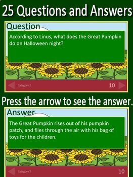 It's the Great Pumpkin, Charlie Brown GAME!  Jeopardy Style PowerPoint Review