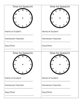 It's time for Speech!   Visual Reminder Cards for Speech Therapy
