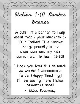 Italian 1 10 Number Banner By Miss Kennedys Classroom Tpt