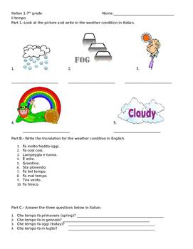Italian 1 Weather Quiz or Handout