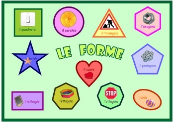 Poster   about the  Shapes in Italian  . A3 size .