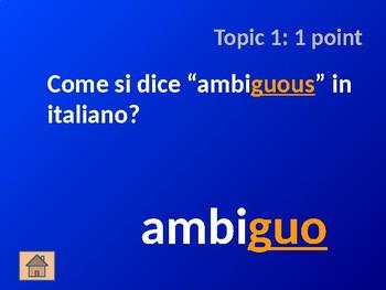 Italian Adjective Cognates - Jeopardy Game