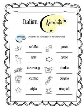 Italian Animals Worksheet Packet