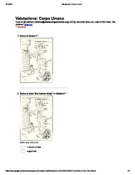 Italian Made Simple: Corpo Umano Assessment (Multiple Choice)