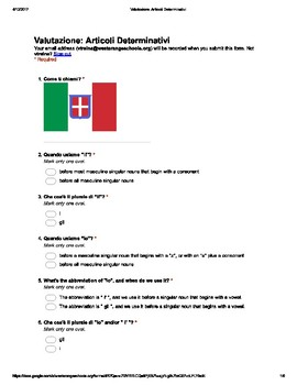 Italian Made Simple: Definite Articles Assessment (Multiple Choice)