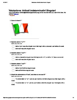 Italian Made Simple: Indef. Articles Assessment (Sing. only) (Multiple Choice)