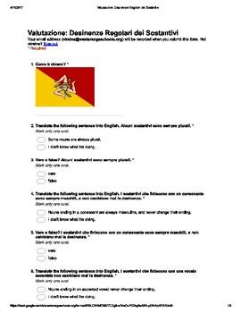 Italian Made Simple: Irregular Noun Endings Assessment (Multiple Choice)