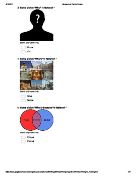Italian Made Simple: Keywords Assessment (Multiple Choice)