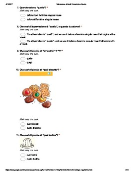 """Italian Made Simple: """"Quello"""" Demonstrative Assessment (Multiple Choice)"""