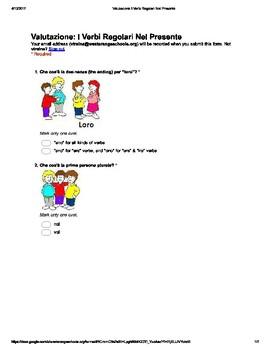 Italian Made Simple: Regular Verb Endings Assessment (Mult