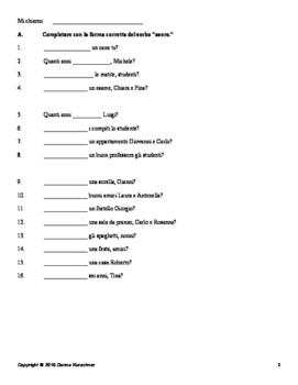 Italian: Avere practice - includes practice with commas