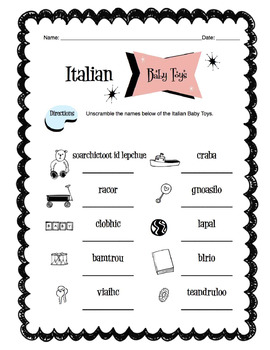 Italian Baby Toys Worksheet Packet