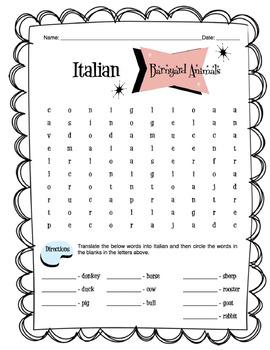 Italian Barnyard Animals Worksheet Packet