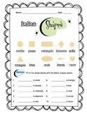 Italian Basic Shapes Worksheet Packet