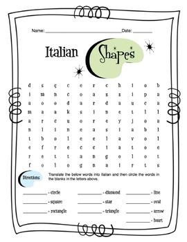 Italian Basic Shapes Worksheet Packet