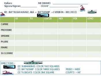 Italian:  Battleship game with -IRE Verbs ( ISCO)
