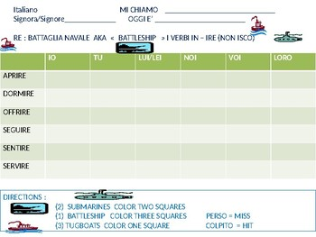 Italian:  Battleship game with -IRE Verbs ( NON - ISCO)