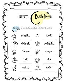 Italian Beach Items  Worksheet Packet