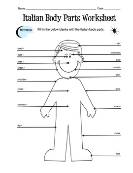 Italian Body Parts Label Worksheet & Answer Key