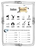 Italian Body Parts Worksheet Packet