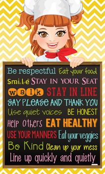 Italian CHEF / COOKING - Classroom Decor: MEDIUM BANNER, Cafeteria Rules