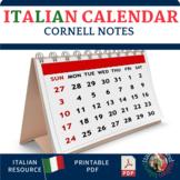 Italian Calendar Vocabulary Cornell Note sheet