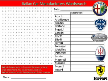 Italian Cars Wordsearch Sheet Starter Activity Keywords Transport Vehicles