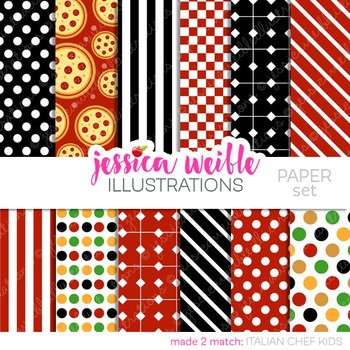 Italian Chef Kids Matching Digital Papers, Pizza Papers
