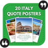 Italian Classroom Posters - 20 Italy Quotes for Foreign Language Bulletin Boards