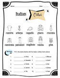Italian Clothing Items Worksheet Packet