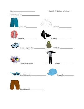 Italian Clothing Items workshet